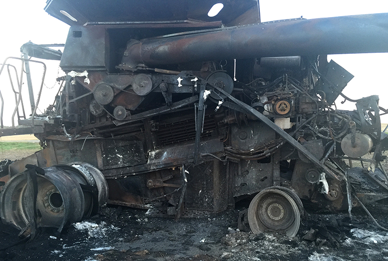 photo of burned combine
