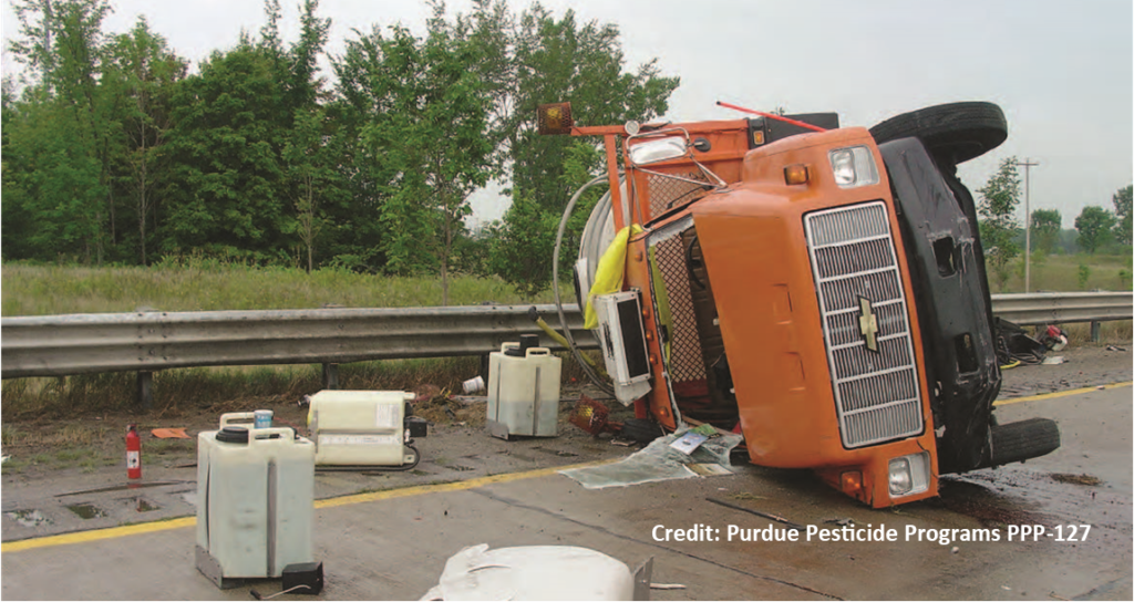 crashed truck with ag pesticides