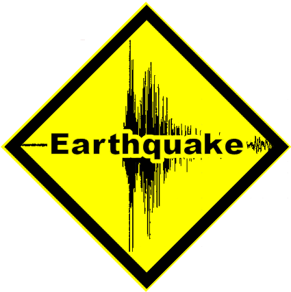"""Yellow triangle with """"earthquake"""""""
